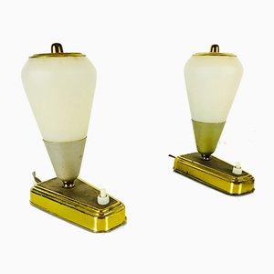 Moderne deutsche Mid-Century Tischlampen aus Messing mit grünem Fuß, 1950er, 2er Set