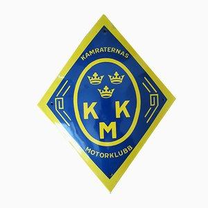 Emailliertes schwedisches KMK Automobilclub Schild, 1960er
