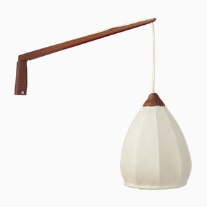 Scandinavian Fabric & Teak Wall Lamp, 1950s