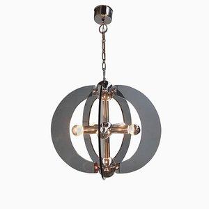 Lámpara de araña italiana grande de cristal de Murano y cromo, años 70