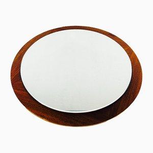 Modern Teak Circular Wall Mirror, 1960s