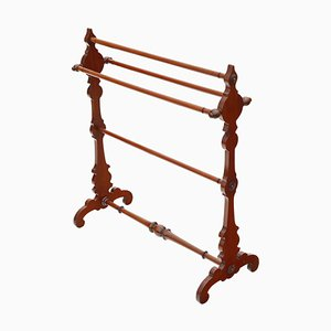 Antique Mahogany Victorian Towel Rail Stand, 1890s
