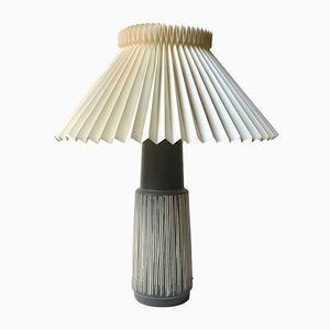 Danish Modern Ceramic Table Lamp with Stripes by Elisabeth Loholt, 1950s