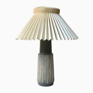 Lampe de Bureau en Céramique à Rayures par Elisabeth Loholt, Danemark, 1950s