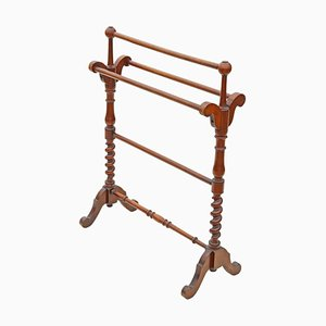 Antique Mahogany Victorian Towel Rack Stand, 1880s
