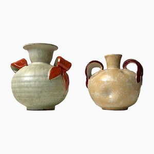 Swedish Art Deco Ceramic Vases by Harald Ostergren for Ekeby, 1930s, Set of 2