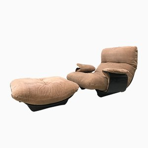 Vintage Lounge Chair & Footstool Set by Michel Ducaroy for Ligne Roset, 1960s