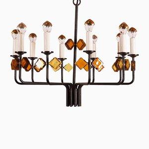 Lámpara de araña escandinava vintage de hierro y vidrio de Svend Aage Holm Sorensen