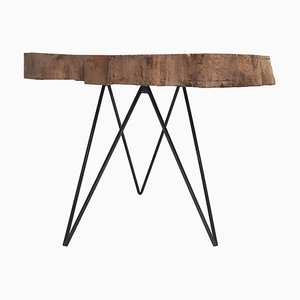 Mid-Century Modern Dutch Beech Trunk-Slab Table