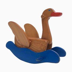Mid-Century Modern Swiss Solid Pine Rocking Swan