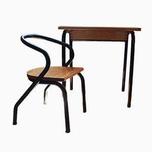 Children's Desk & Chair Set by Jacques Hitier, 1950s