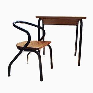 Juego de escritorio y silla infantil de Jacques Hitier, años 50