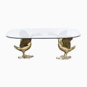 Mesa de centro escultural con base en forma de gansos y tablero de vidrio, años 70