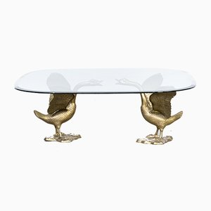 Sculptural Goose Coffee Table with Glass Table Top, 1970s