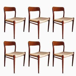Vintage Model 75 Chairs by Niels O. Møller for J. L. Møllers, Set of 6