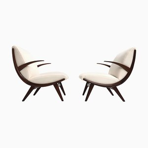 Scandinavian Teak & Wool Lounge Chairs, 1950s, Set of 2