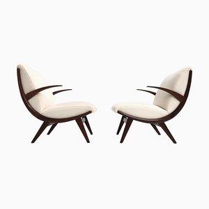 Scandinavian Teak & Wool Lounge Chairs, 1950s, Set of 2