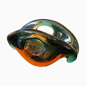 Mid-Century Modern Sommerso Murano Glass Bowl by Archimede Seguso, 1970s