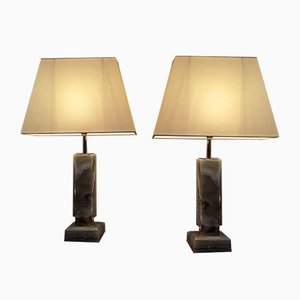 Italian Onyx Table Lamps, 1970s, Set of 2