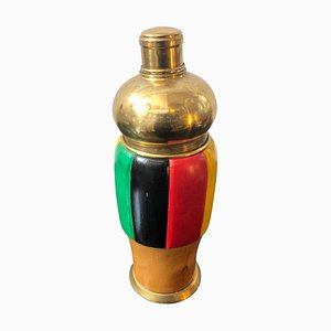 Mid-Century Italian Multicolored Wood & Brass Cocktail Shaker, 1950s