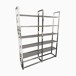 Mid-Century Italian Modern Metal and Smoked Glass Bookcase, 1970s