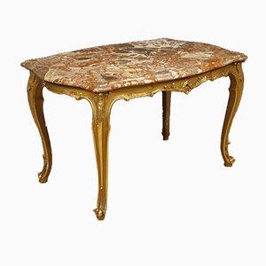 Table Basse Dorée avec Plateau en Marbre, Italie, 1950s