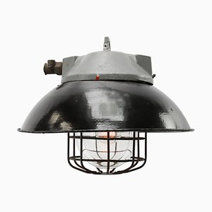 Industrial Cast Aluminum, Black Enamel & Glass Ceiling Lamp, 1950s
