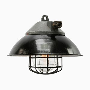 Industrial Aluminum, Enamel, and Glass Ceiling Lamp, 1950s