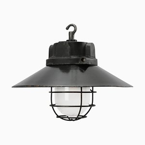Industrial German Cast Iron and Black Enamel Ceiling Lamp from Siemens, 1950s