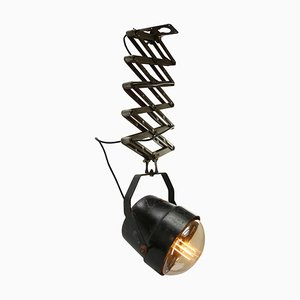 Italienische industrielle Scheren-Deckenlampe aus Glas und Metall, 1950er