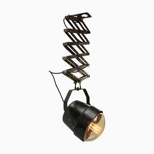 Lámpara de techo acordeón industrial italiana de vidrio y metal, años 50