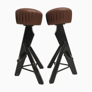 Brutalist French Leather & Stained Oak Stools, 1970s, Set of 2