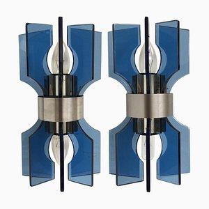 Apliques italianos modernos de vidrio azul y acero cromado, años 80. Juego de 2