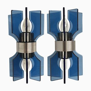 Modernist Italian Blue Glass & Chromed Steel Sconces, 1980s, Set of 2