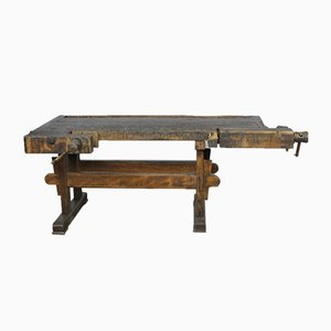 Antique Carpenter's Oak Workbench, 1900s
