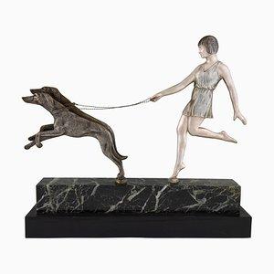 Sculpture de Fille avec des Chiens Art Déco en Bronze par Janle