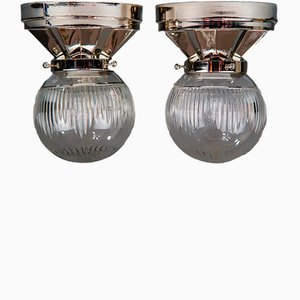Art Deco Nickel-Plated Ceiling Lamps, 1920s, Set of 2