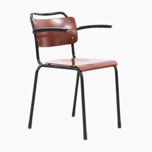 Model 201 Bakelite, Pagwood & Tubular Steel Armchair by Willem Hendrik Gispen, 1960s