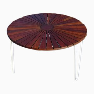 Scandinavian Metal & Teak Garden Table from Mandalay, 1960s