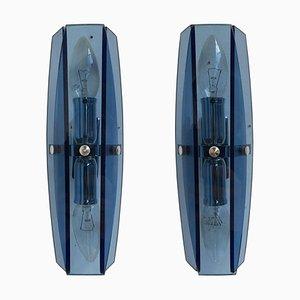 Modernist Italian Chromed Metal & Blue Glass Sconces, 1980s, Set of 2