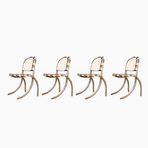 Sillas italianas de acero y tela de Bazzani para Tetrark, años 60. Juego de 4