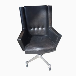 Vintage Black Leather Armchair by Jules Wabbes