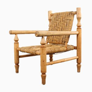 Rustic Rope and Wood Armchair, 1970s