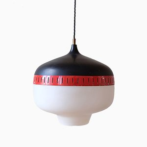 Lampe à Suspension en Métal et Verre Opaque de Stilnovo, 1960s