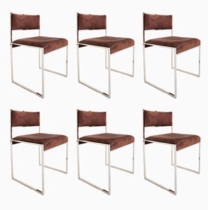 Buffalo Leather Chairs by Willy Rizzo, Set of 6, 1970s