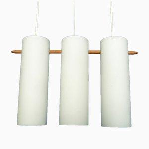 Lampada a sospensione in vetro opalino e teak di Uno & Östen Kristiansson per Luxus, anni '60
