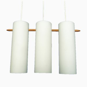 Opaline Glass & Teak Pendant Lamp by Uno & Östen Kristiansson for Luxus, 1960s