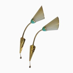 Deutsche Mid-Century Wandlampen aus Messing und Glas, 1950er, 2er Set