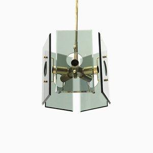 Lámpara de araña italiana Mid-Century de vidrio y latón de Gino Paroldo, años 50