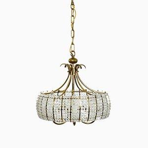 Lámpara de araña grande de latón con perlas de vidrio acrílico, años 60